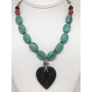 Lucky Brand Turquoise Heart Pendant Necklace